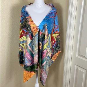 Gorgeous All Silk watercolor print 2 way cape wrap